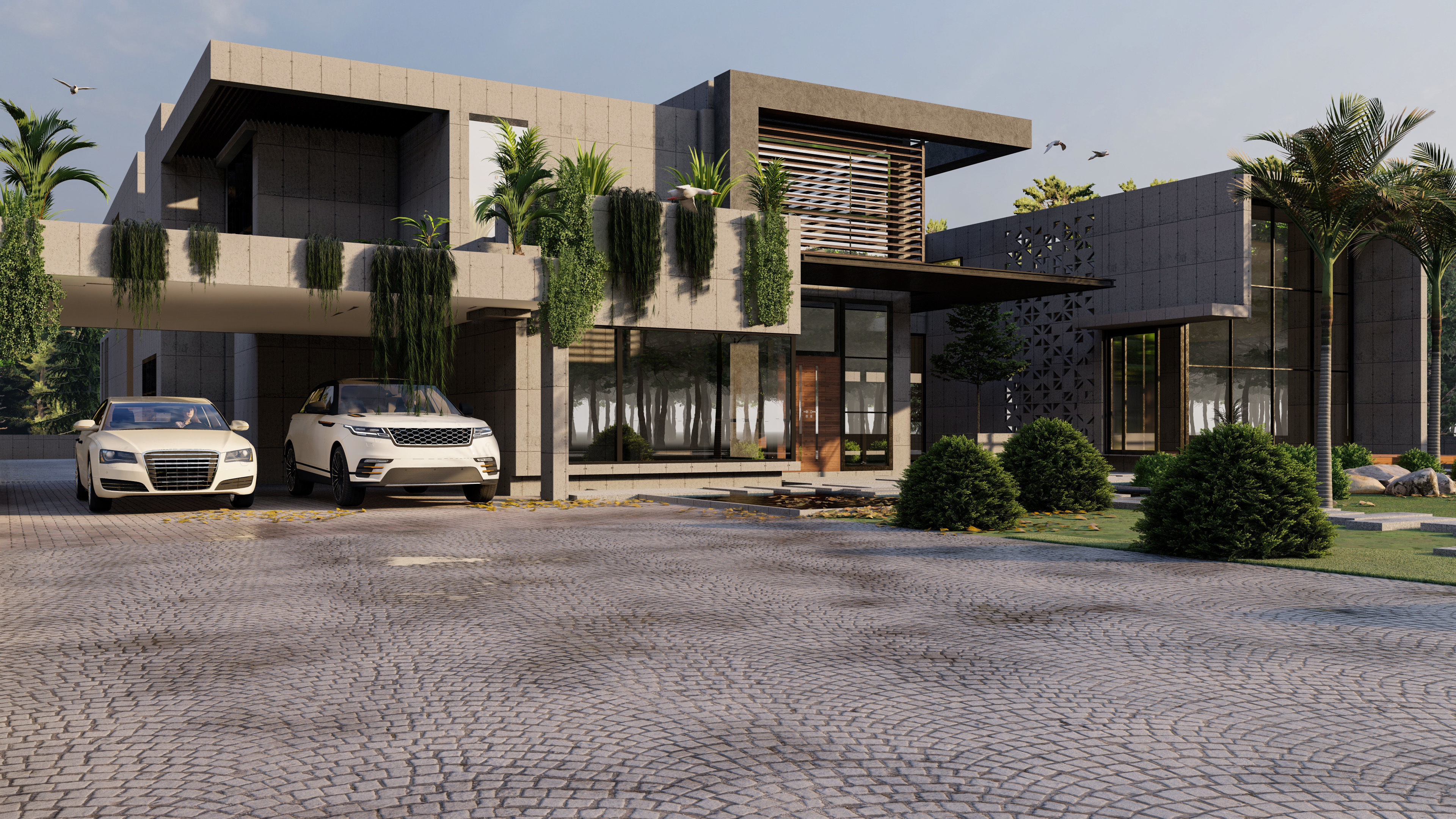 MODERN LUXURY HOUSE MODEL AND RENDER MODERN HOUSE 3D