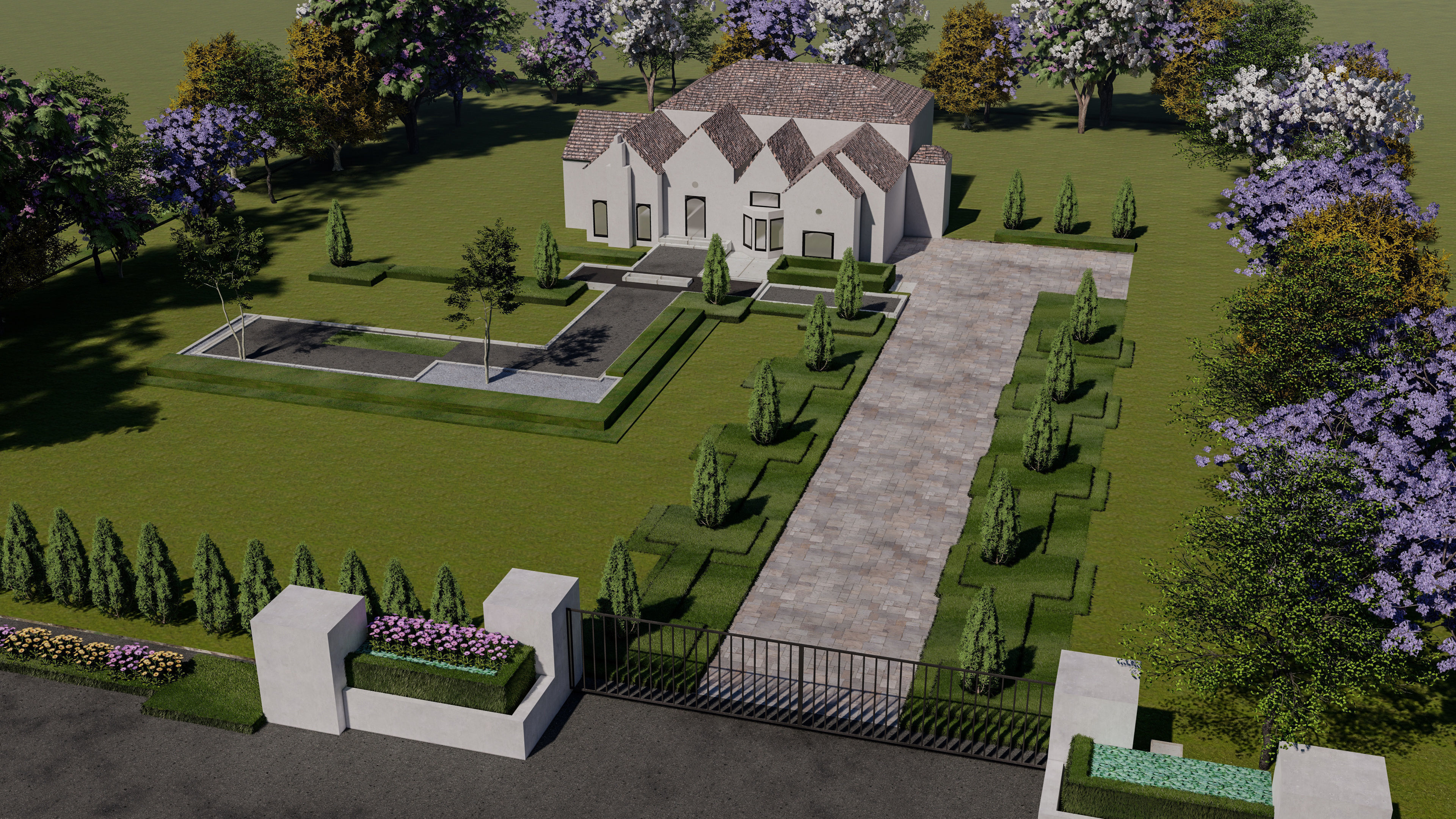 Landscape Front Lawn Design Of Luxury House 3d Model