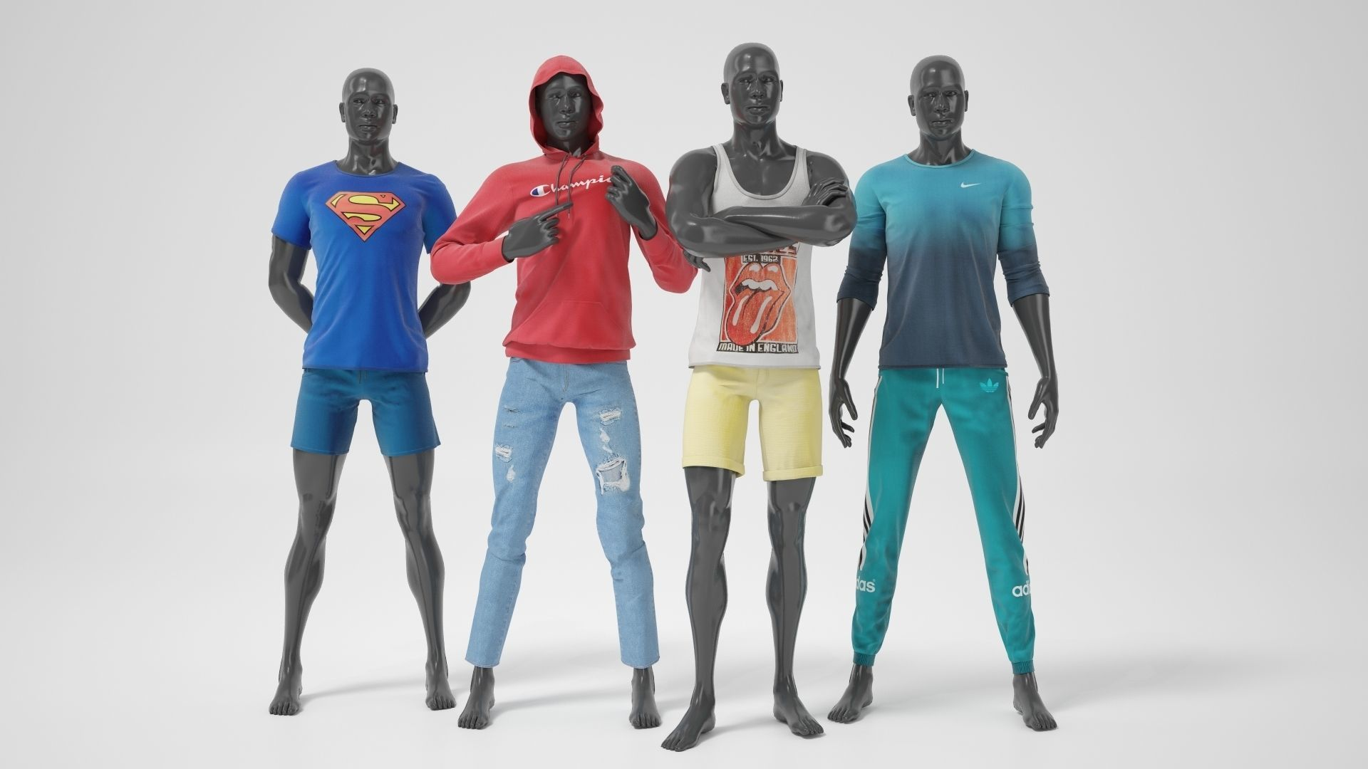 Man mannequins whith clothes STRONG pack