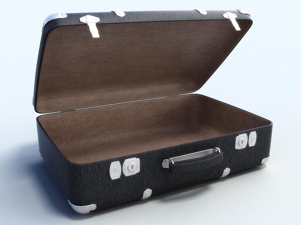 Open Suitcase Old big suitcase # 4 3d model