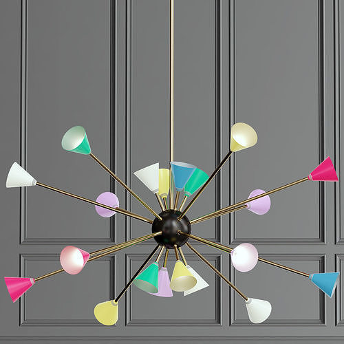 3d Stilnovo Multi Color Chandelier Cgtrader