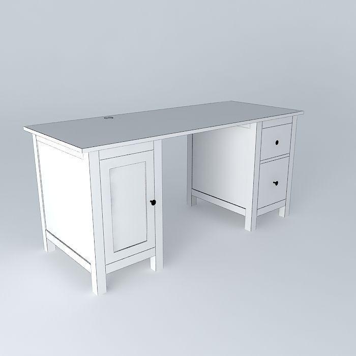 HEMNES desk white free 3D Model max obj 3ds fbx stl skp CGTrader com