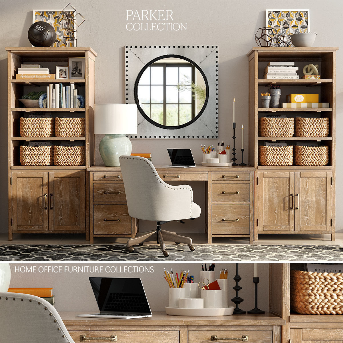Pottery Barn PARKER HOME OFFICE FURNITURE 3D Model 1