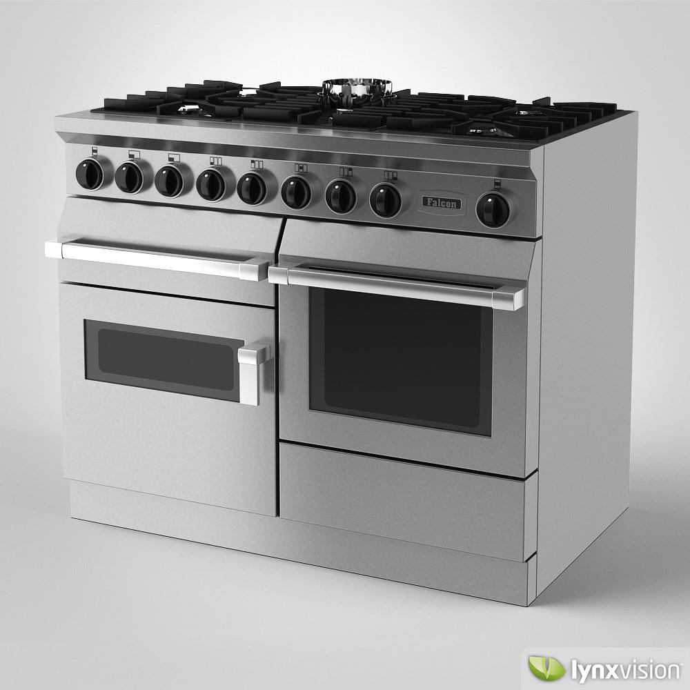falcon freestanding gas range cooker 3d model max obj. Black Bedroom Furniture Sets. Home Design Ideas