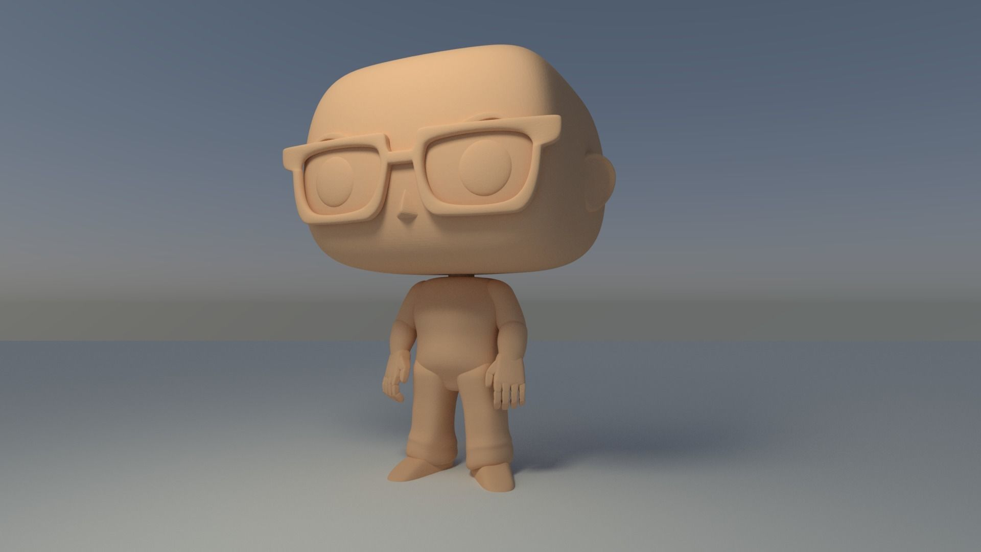 Custom Pop Bald Man Glasses Figure 3D Print 3D print model