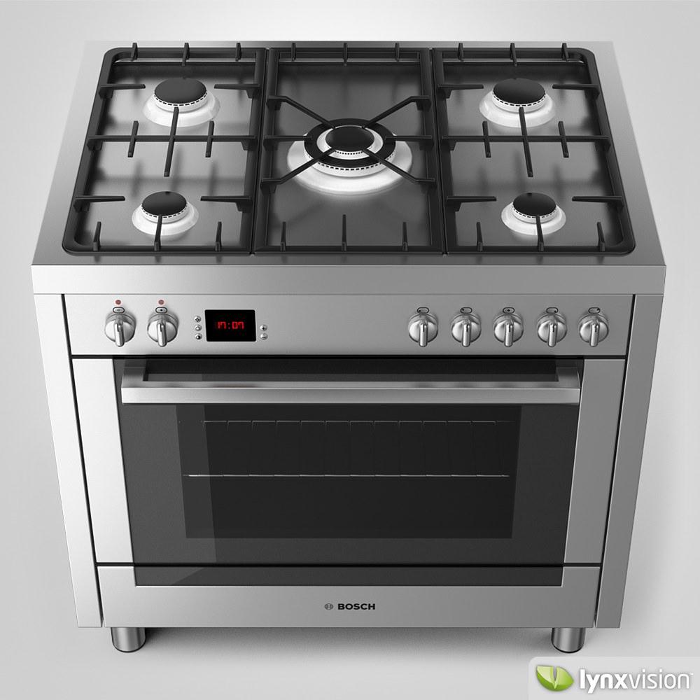 bosch range cooker 3d model max obj fbx mtl 3