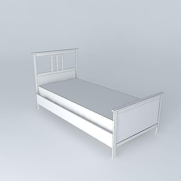 HEMNES bed single white free 3D Model max obj 3ds fbx stl skp CGTrader