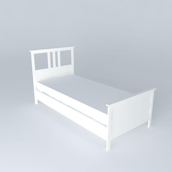HEMNES bed single white free 3D Model max obj 3ds fbx stl skp CGTrader com