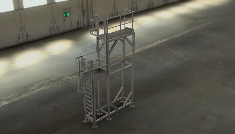 Platform part with vertical ladders