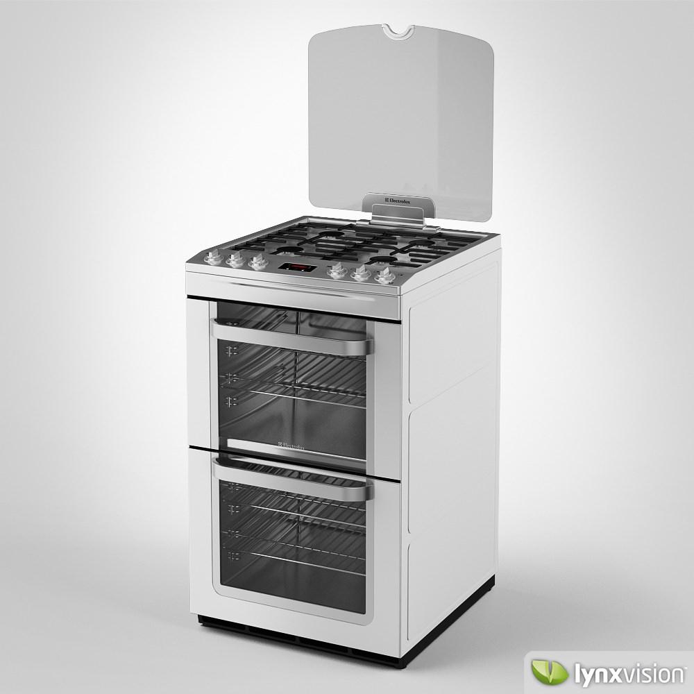 electrolux gas cooker double oven 3d model max obj fbx. Black Bedroom Furniture Sets. Home Design Ideas