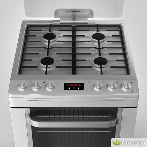 Electrolux gas cooker double oven 3d model max obj fbx for Kitchen set electrolux