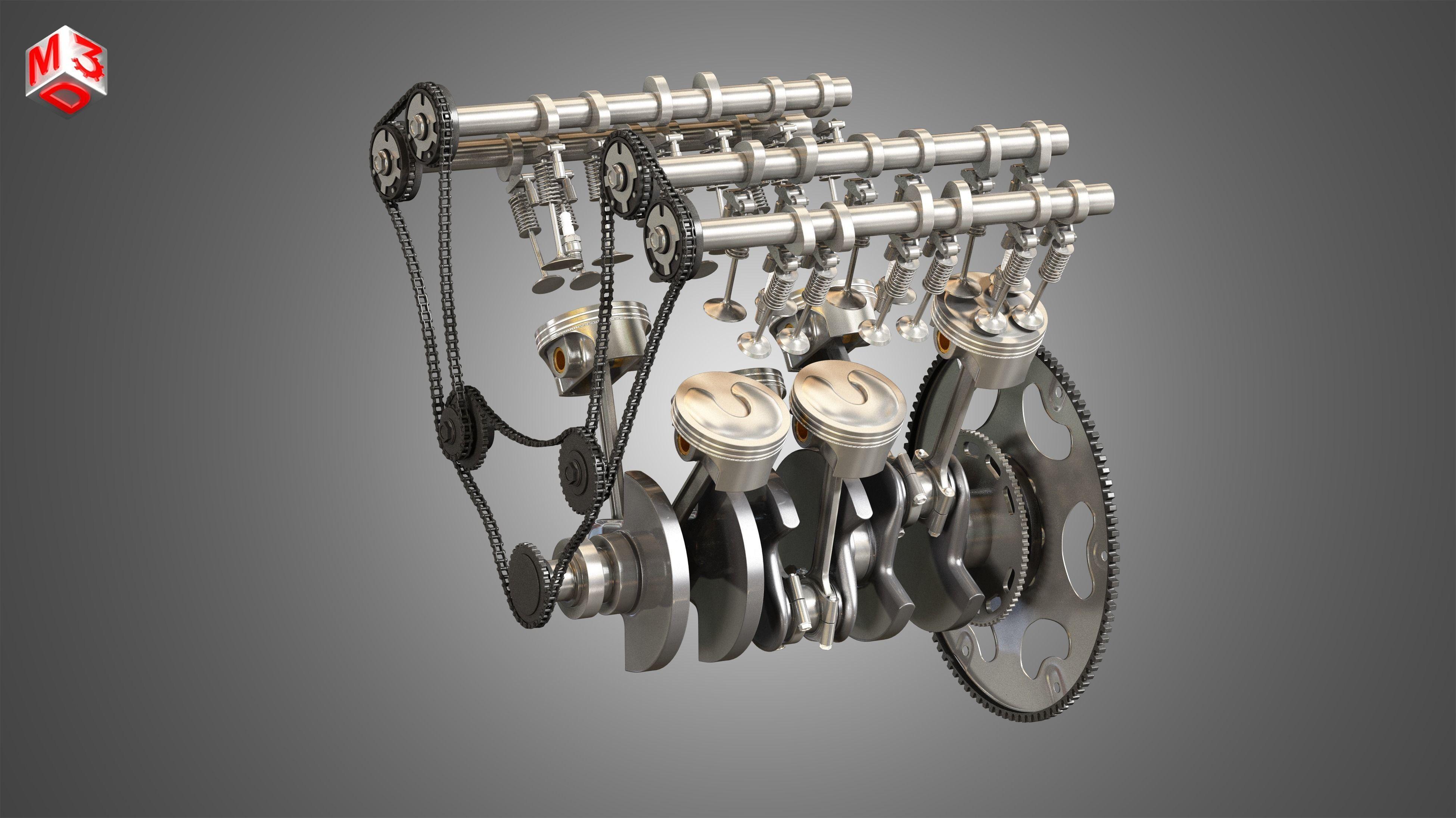 V6 Engine - 3d interior parts