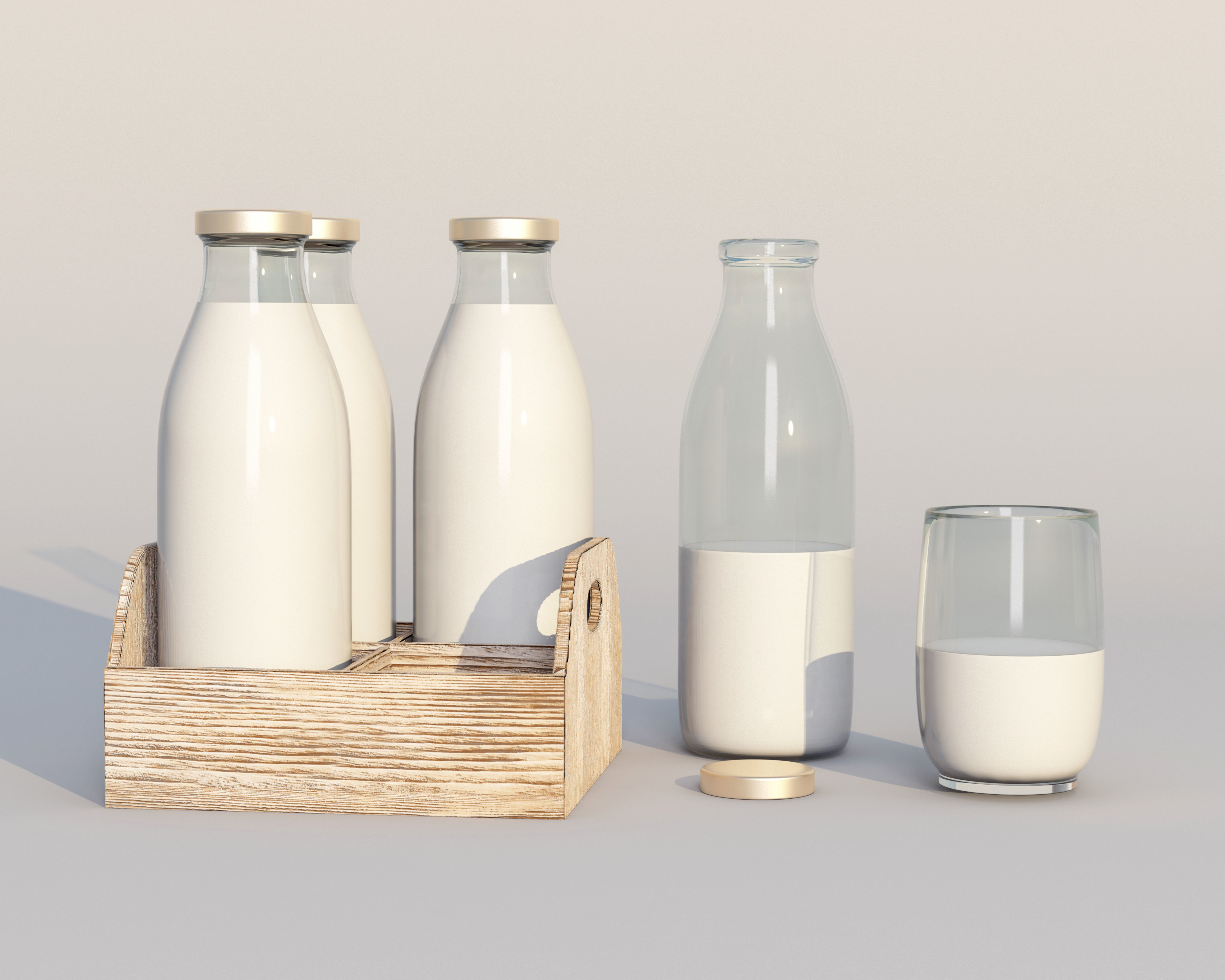 Retro glass milk bottles with wood box and glass