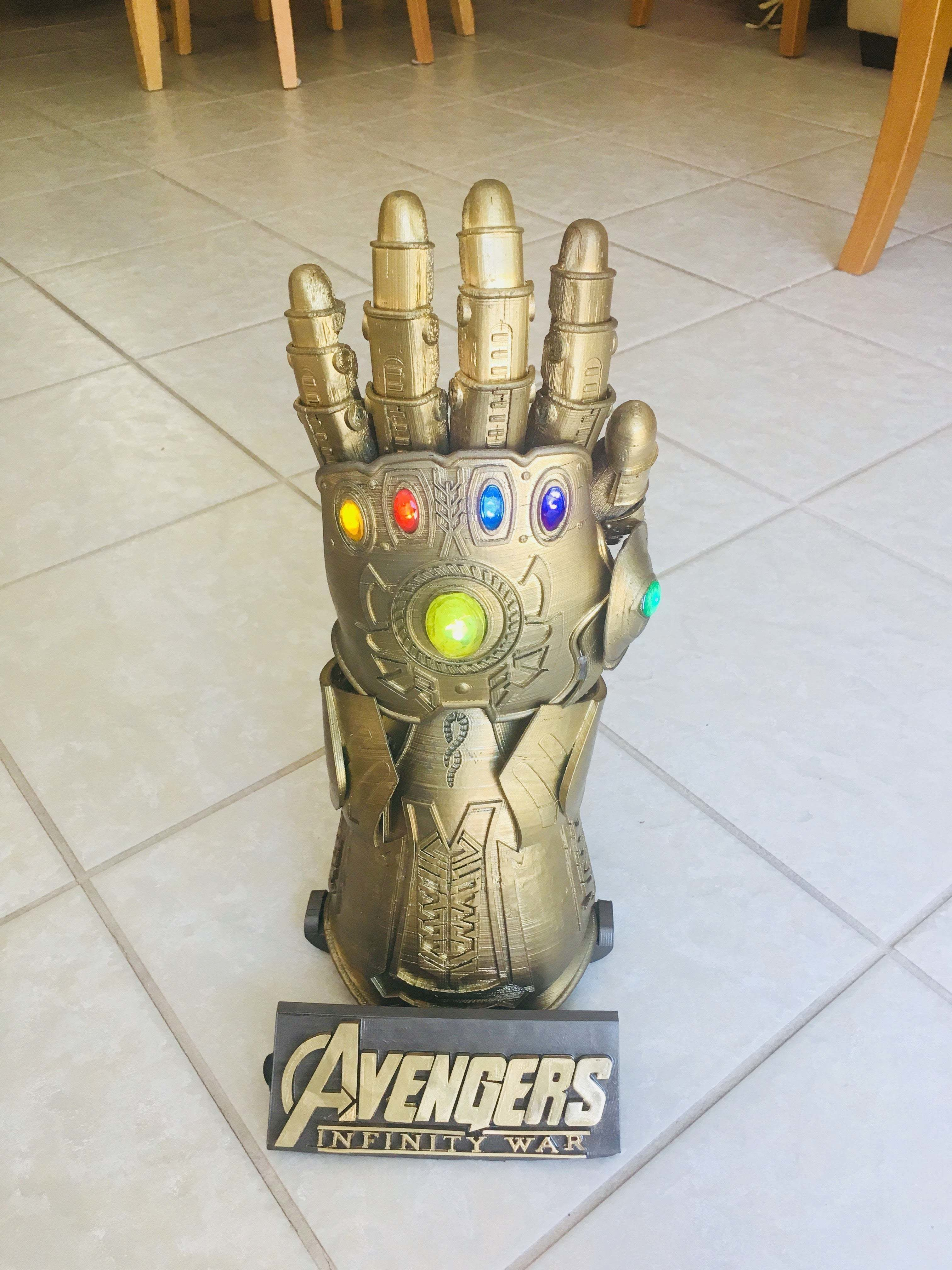 Wearable Infinity Gauntlet with Dimming Lights | 3D Print Model