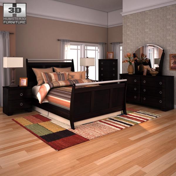 Pinella Bedroom Set: Ashley Pinella Sleigh Bedroom Set 3D Model Game Ready .max