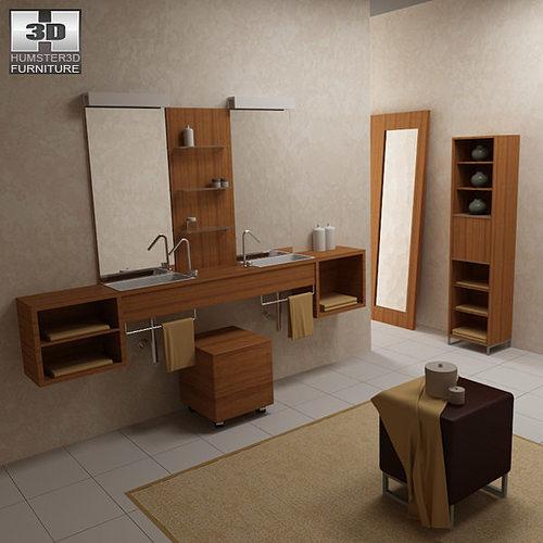 Bathroom furniture 02 set 3d model cgtrader for New bathroom models
