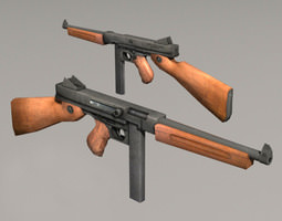 low-poly thompson m1a1 3d model