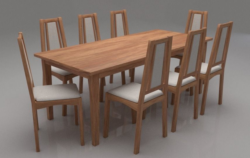 Kuzel Solid Wood Eight Seater Cushioned Dining Set