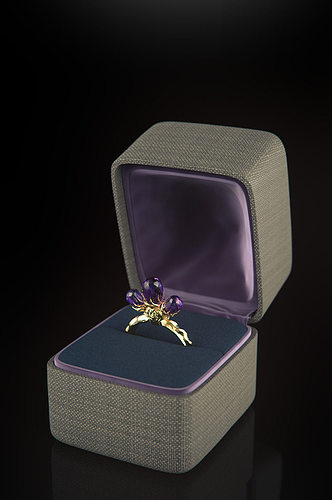 Gold Gothic Amethyst Ring With Jewelry Case 3d Model Obj