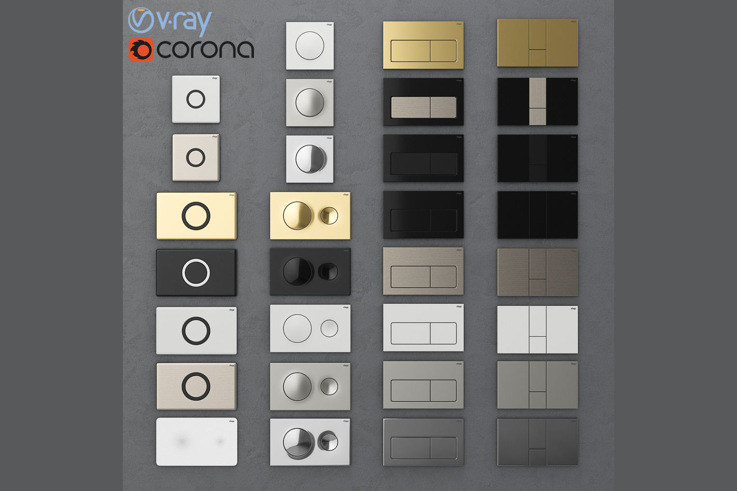 Flush buttons for installation Viega 1