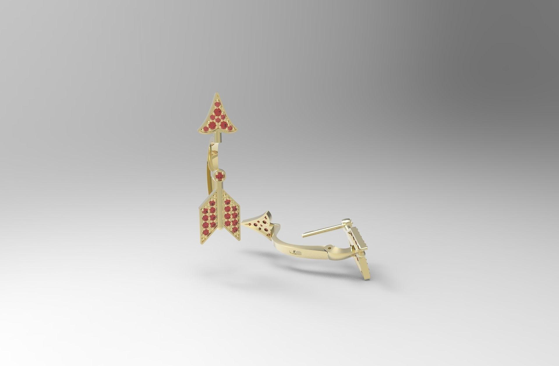 Fancy art deco arrow earrings