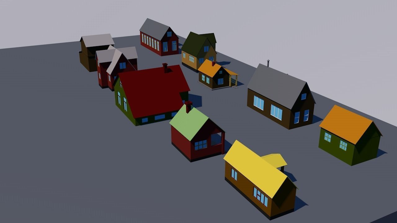 10 Houses Lowpoly 3d Model Low Poly C4d 2