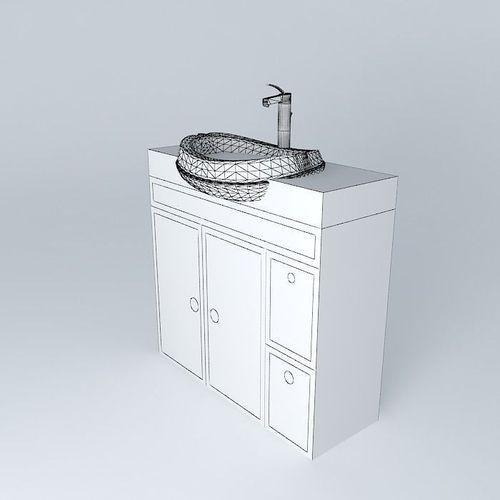 White modern sink free 3d model max obj 3ds fbx stl for Sketchup bathroom sink