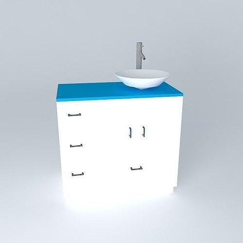 Sink and bathroom cabinet free 3d model max obj 3ds fbx for Sketchup bathroom sink