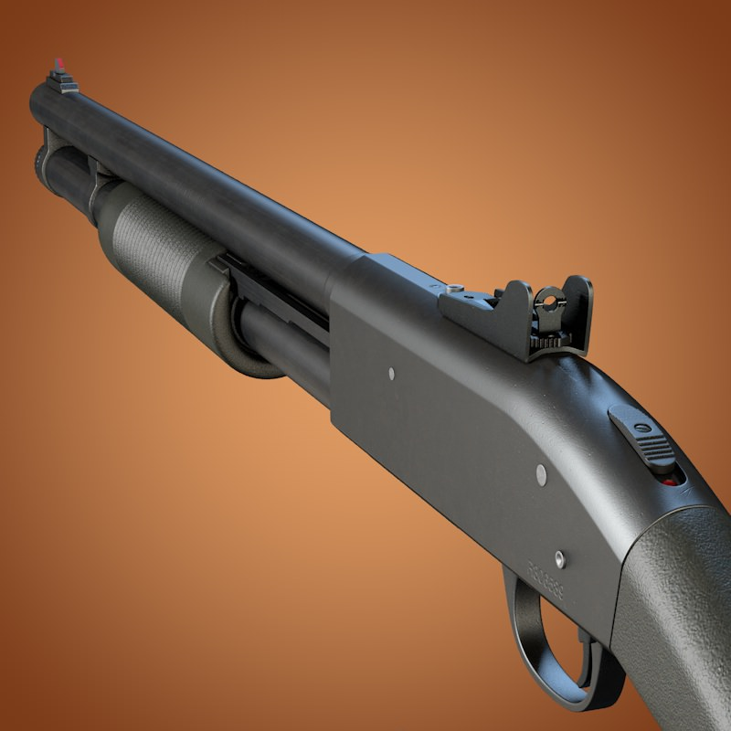 Mossberg 590 Shotgun With Ghost Ring Sight 3d Models