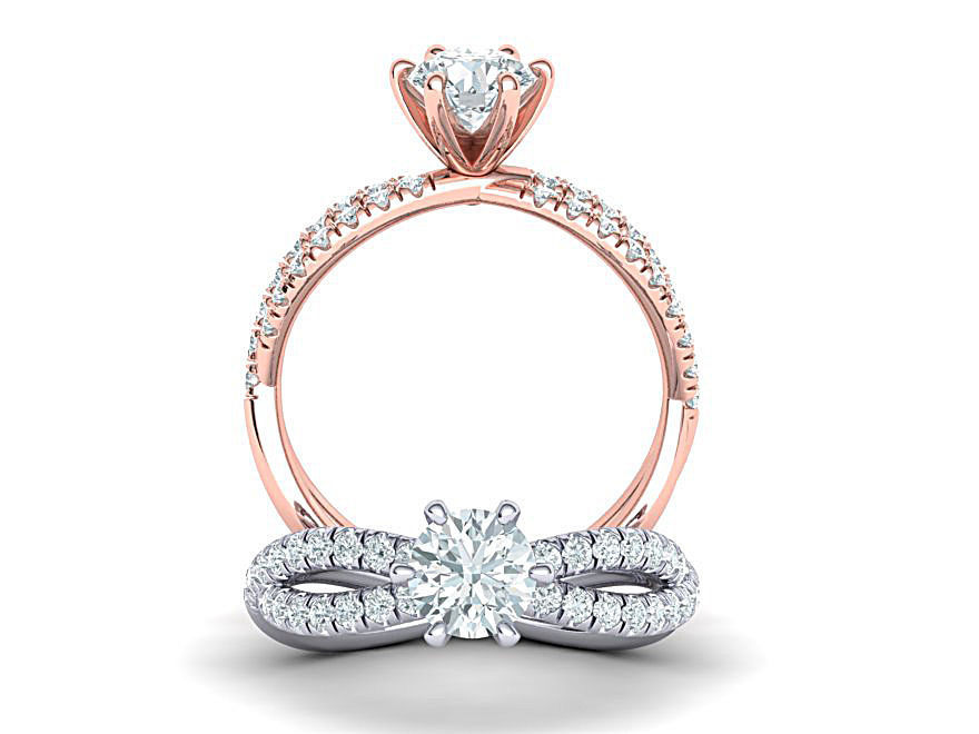 Gorgeous rope style twisted engagement ring  6claws 3dmodel