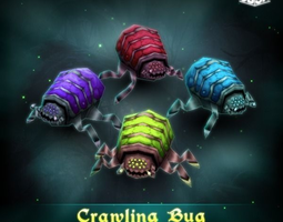 animated VR / AR ready crawling bug  3d asset