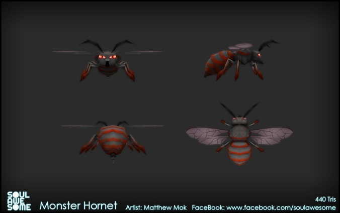 Monster Hornet 3d Model Game Ready Animated Rigged
