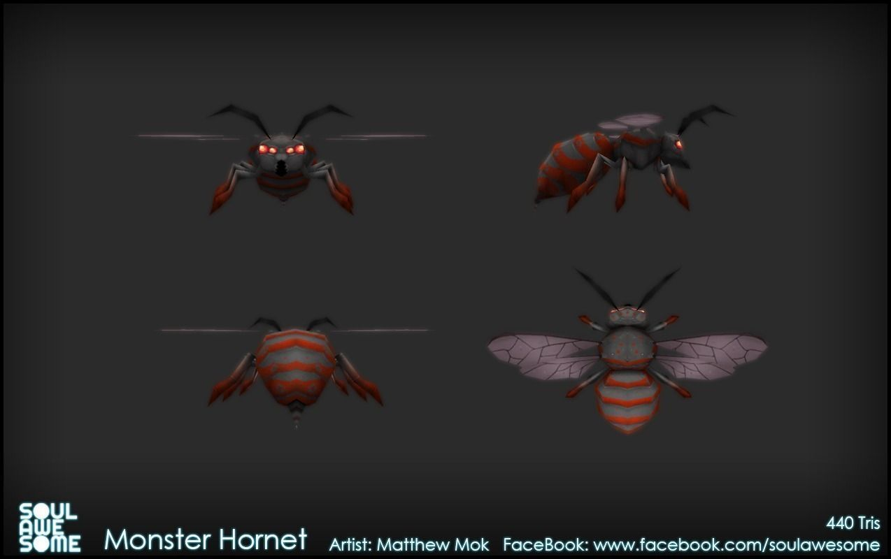 Monster Hornet 3d Model Game Ready Animated Rigged