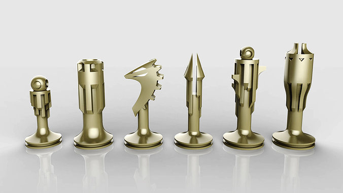 chess set 3d model 3ds stl 1