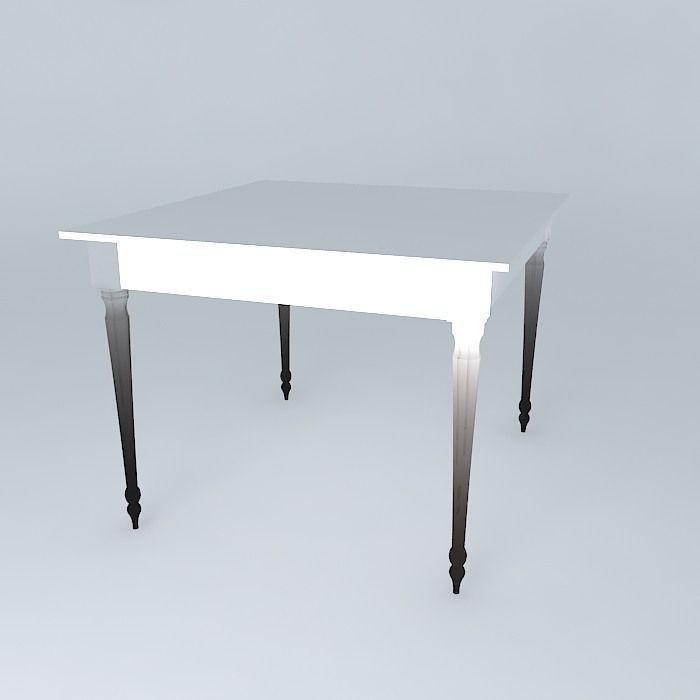 Square white dining table louis 3d model max obj 3ds fbx stl skp