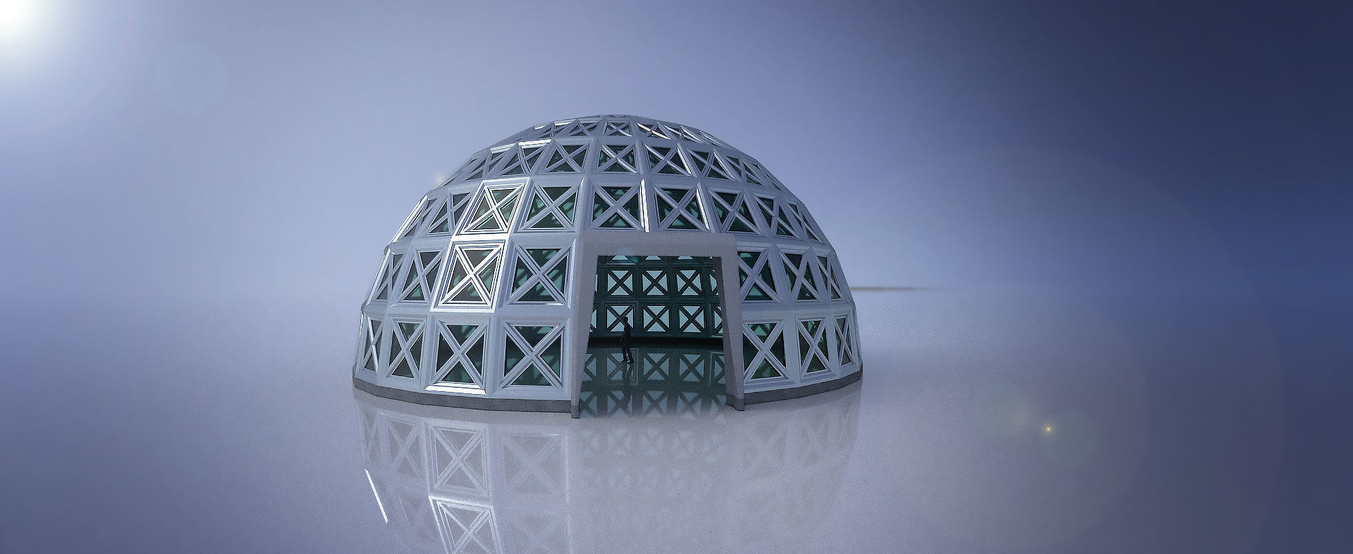 Large steel dome with glass panels and entry