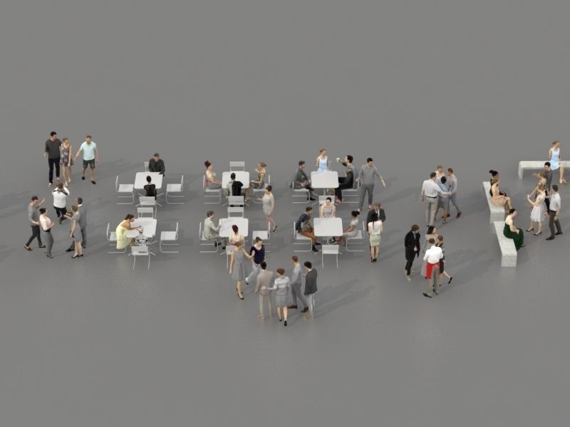 3D PEOPLE CROWDS- ULTIMATE SPEED  - CAFETERIA BENCHES - EXTERIOR