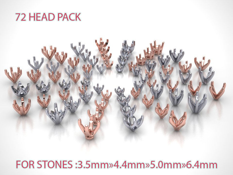 MEGA HEADS PACKAGE of 72 Heads for Solitaire rings