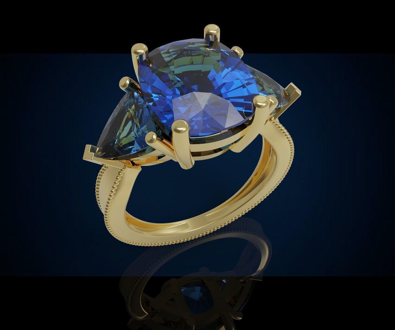 Three gemstone ring  Cg 3 6