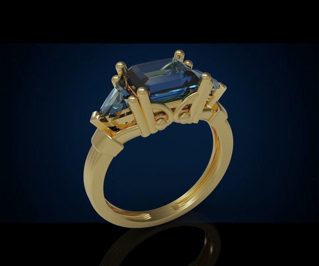 Three gemstone ring  Cg 3 19