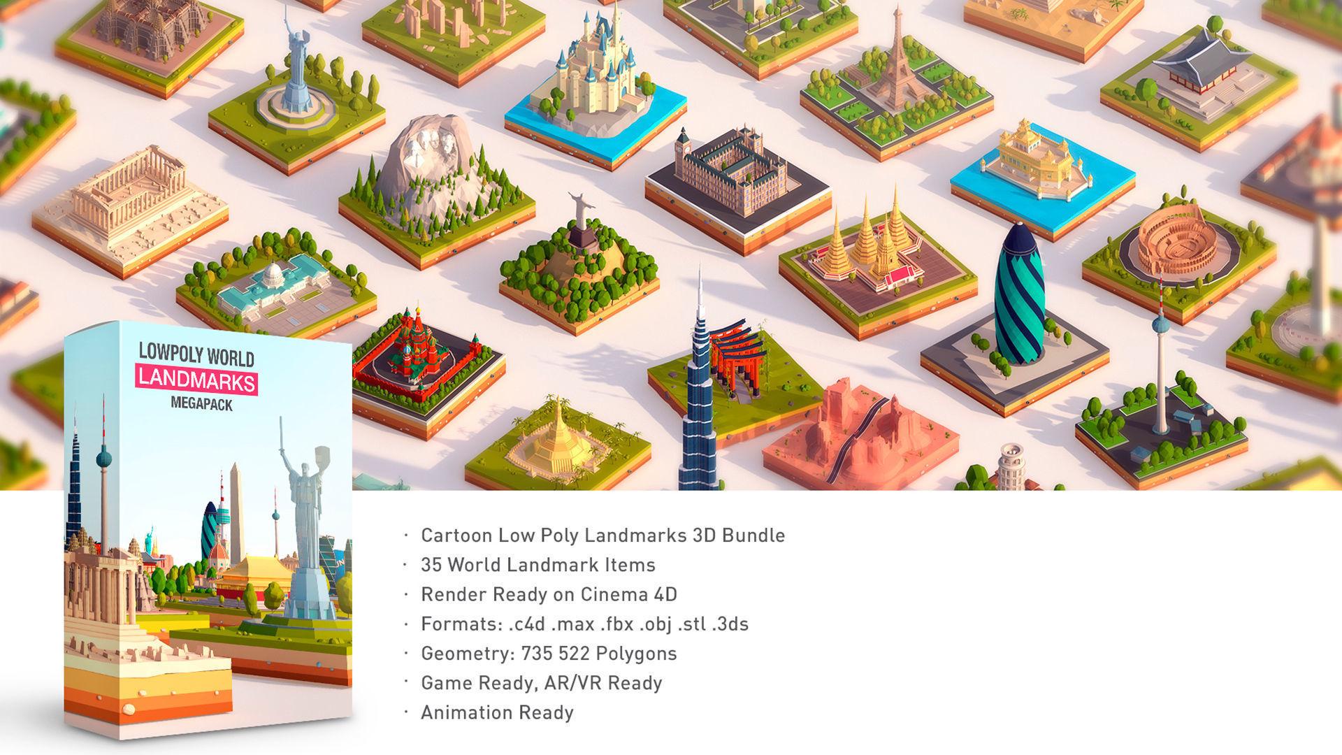 Polygonia Cartoon Low Poly Landmarks Mega Pack