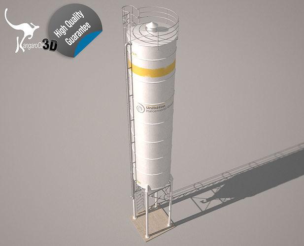 cement silo unibeton - 79 m3 3d model low-poly dae skp 1