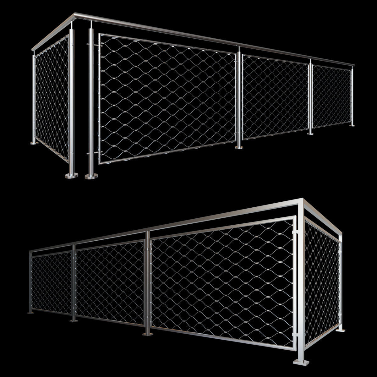 Steel railing with rope system