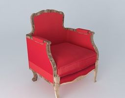 retro red armchair 3d