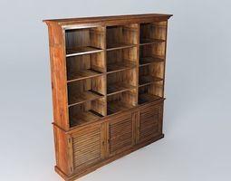 storage 3D model Wooden bookcase