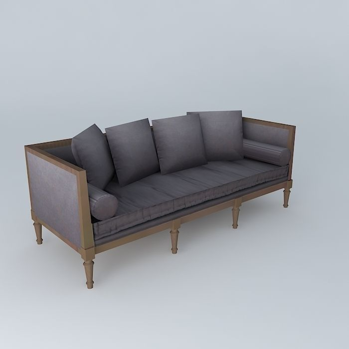 French Style Sofa 3d Model Max Obj Mtl 3ds Fbx Stl Skp 1 ...