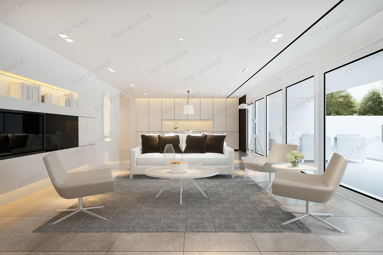 3d Modern Living Room Near Kitchen And Outdoor Garden