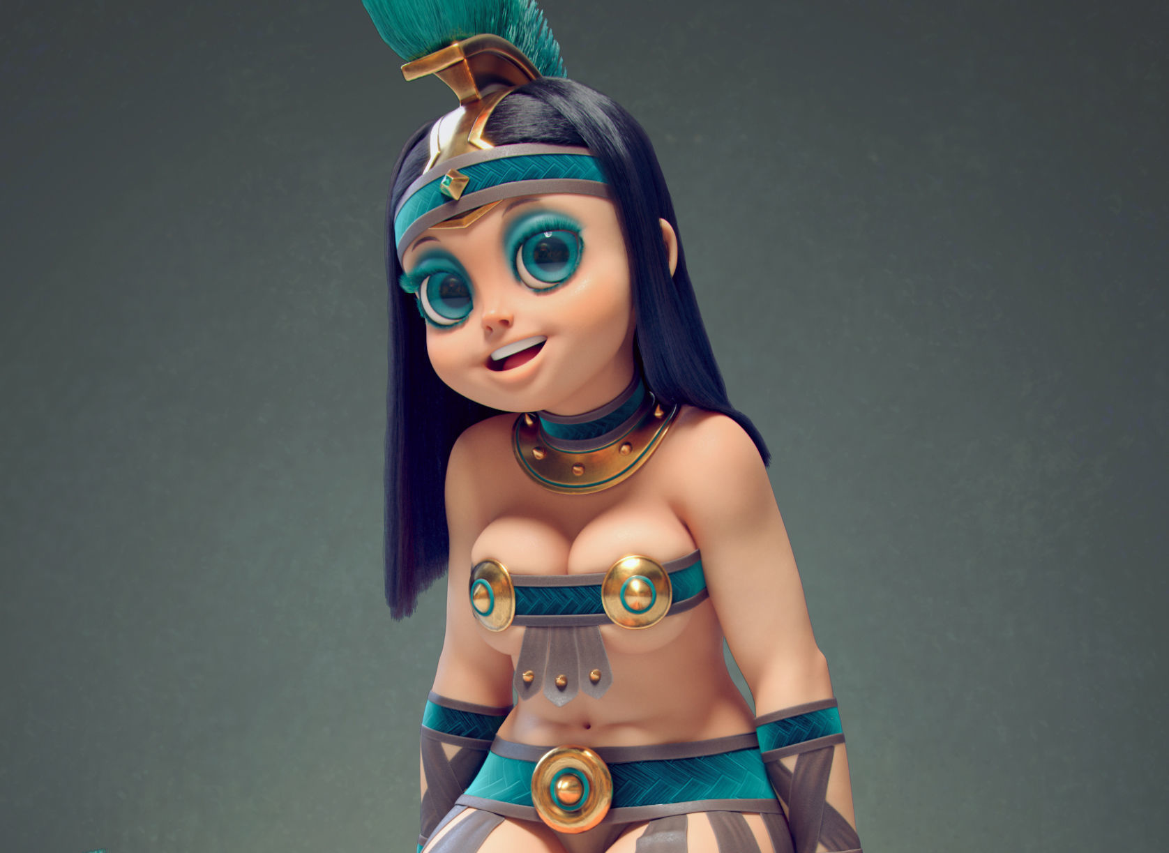 Gladiator cartoon Anime Girl