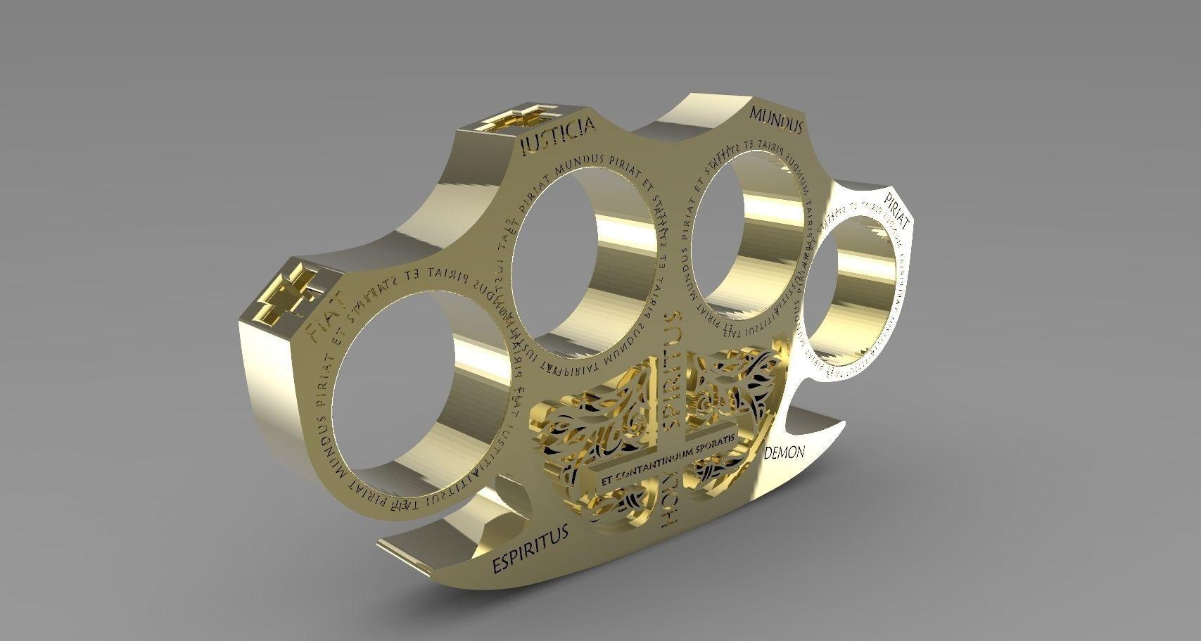 3d Printed Car Parts >> Holy Brass Knuckles 3D Model 3D printable STL - CGTrader.com