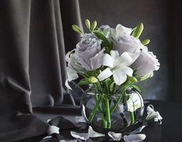 3d model flowers in vase 2